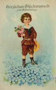 034-Geburtstag-Kinder-Blumen-Rosen-Matrose-034-1908-Praegekarte
