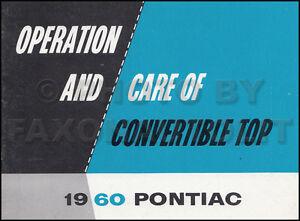 100% Vrai 1960 Pontiac Convertible Haut Manuel Du Propriétaire Original Bonneville