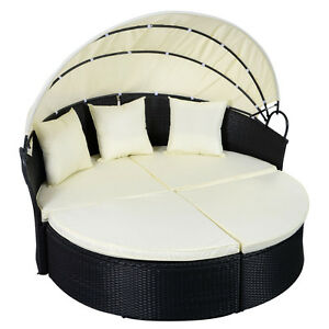 Image Is Loading Outdoor Patio Sofa Furniture Round Retractable Canopy Daybed