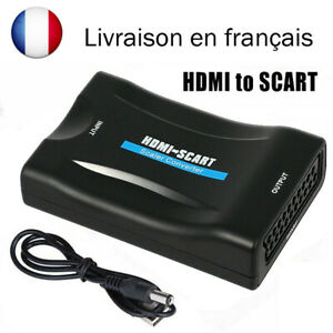HDMI Vers Péritel Composite Video Convertisseur Adaptateur Audio + USB Câble FR