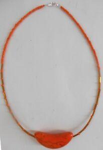 Native-American-Navajo-Indian-Orange-Howlite-Moon-20-inch-Choker-Necklace