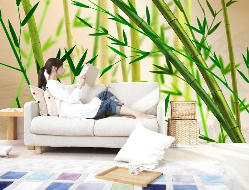 3D bambù fresco Parete Murale Foto Carta da parati immagine sfondo muro stampa