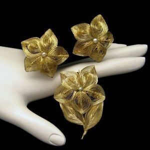 GERMANY-Vintage-Brooch-Pin-Earrings-Set-Gold-Plate-Spun-Wire-Faux-Pearls-Flowers