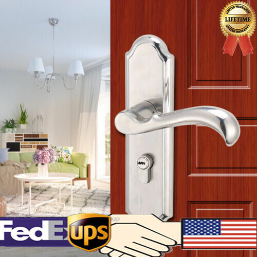 Stainless Steel Handle Privacy Entry Door Lock Set Mortise Security Lever NEW