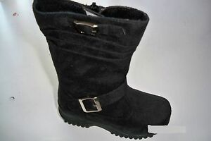Team-Honey-8-Girl-Faux-Wedge-Mid-Calf-Black-Leather-Winter-Boots-Toddler-Size-8