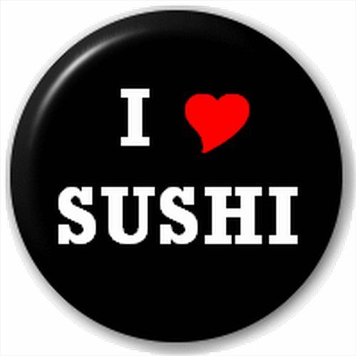 Small 25mm Lapel Pin Button Badge Novelty I Love Sushi Heart