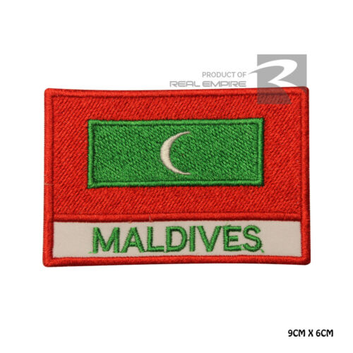 Maldives National Flag Iron on Sew on Embroidered Patch Badge For Clothes Etc