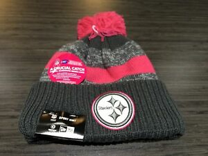 Pittsburgh Steelers Knit Breast Cancer BCA New Era Hat Cap Toque Beanie Player