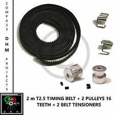 2m T2.5 Timing Belt with 2 Pulleys 16 teeth & grubscrews - RepRap - 3D printer