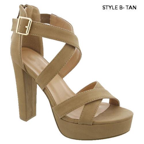 New Women/'s Fashion Platform Chunky Block High Heel Sandals Party Dress Shoes