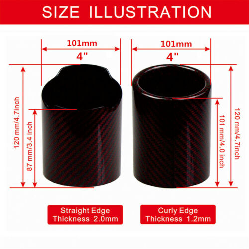 101mm Car Exhaust Tip Sheath Muffler Pipe Cover Red Carbon Fiber Curly Oval Tail