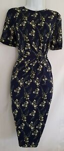 Womens-Hobbs-Navy-Blue-Floral-Stretch-Silk-Gathered-Occasion-Pencil-Dress-10-New