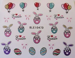 3D-Nail-Art-Sticker-Easter-Bunny-Bows-Eggs-Hearts-Balloons-Glitter-Decal-1047