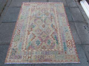 Kilim-Old-Traditional-Hand-Made-Afghan-Oriental-Kilim-Pink-Purple-Wool-175x125cm