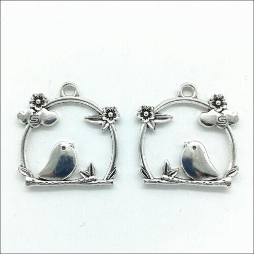 4//20X Flores Pájaro Plata Antigua encantos colgantes para joyería haciendo 26x26mm