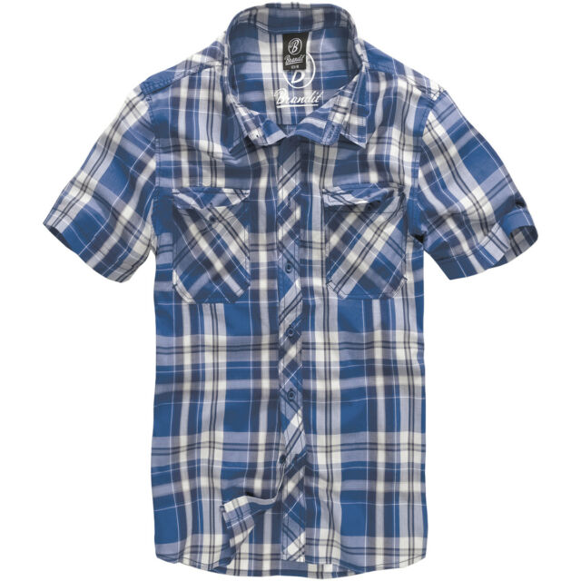 Brandit Roadstar Cotton Check Flannel Top Mens Short Sleeve Sailing Shirt Blue