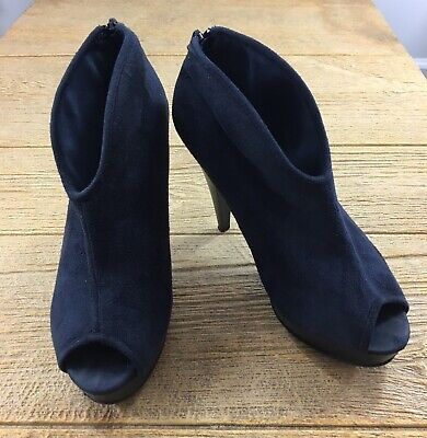 Navy Blue Booties Shoes Ankle Boots