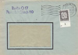 Germany DDR BERLIN 0 17 1956 Cancel Central Courier Service Cover Ref 49044