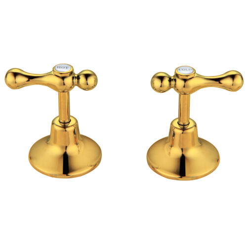 24K Yellow GOLD Shaw & Mason 1/4 Turn Lever Wall Assembly Bathroom Taps