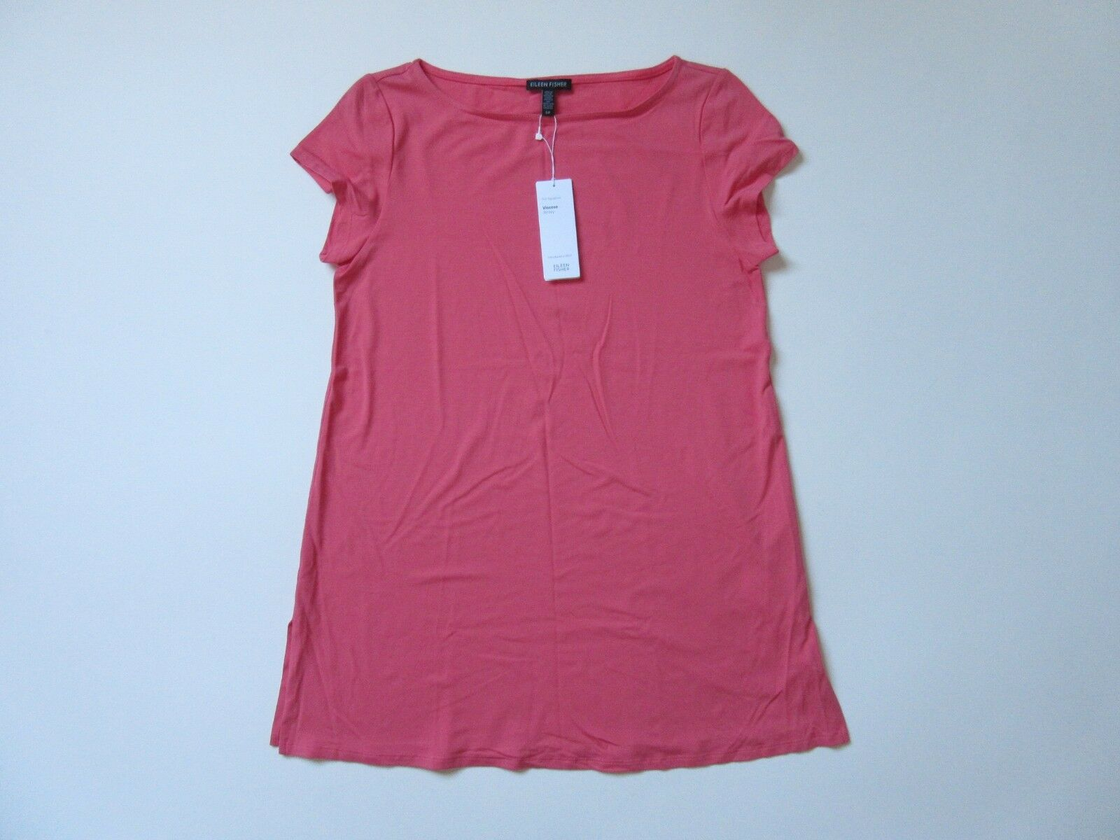 NWT Eileen Fisher Bateau Neck Tunic in Rosa Grapefruit Viscose Jersey Top S