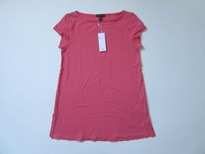 NWT-Eileen-Fisher-Bateau-Neck-Tunic-in-Pink-Grapefruit-Viscose-Jersey-Top-S