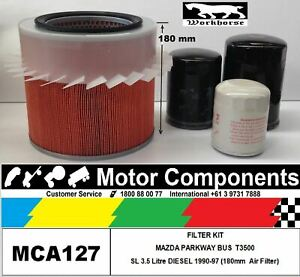 FILTER-SERVICE-KIT-Oil-Fuel-Air-MAZDA-PARKWAY-BUS-T3500-1990-97-SL-3-5L-DIESEL