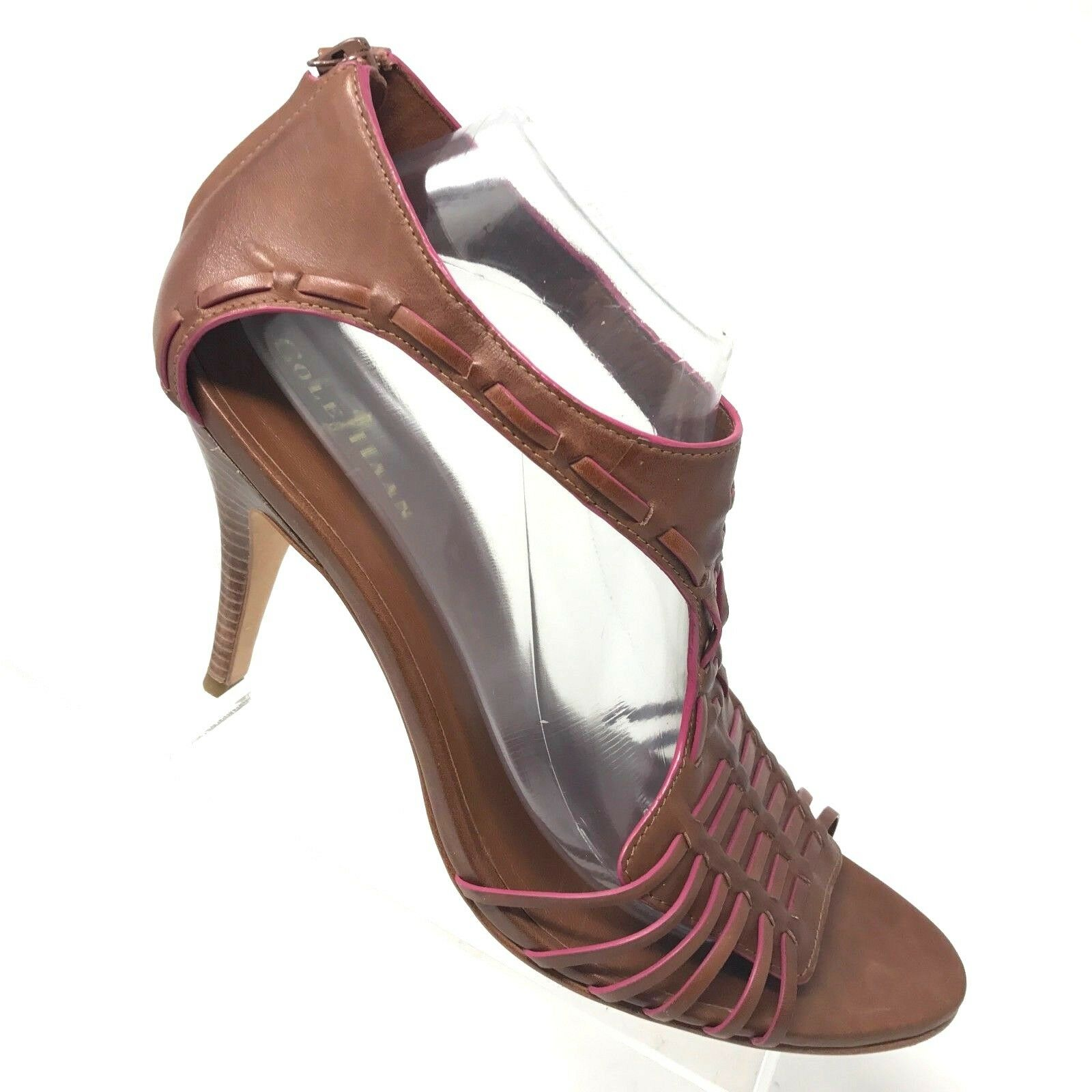 Cole Haan Brown Leather T Strap Heel Zip Open Toe Sandal AIR Womens SIZE 11 B