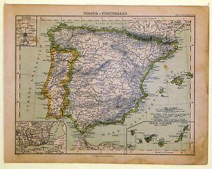Cartina Spagna Antica.Carta Geografica Antica Spagna Portogallo Spain Portugal 1883 Old Map Ebay