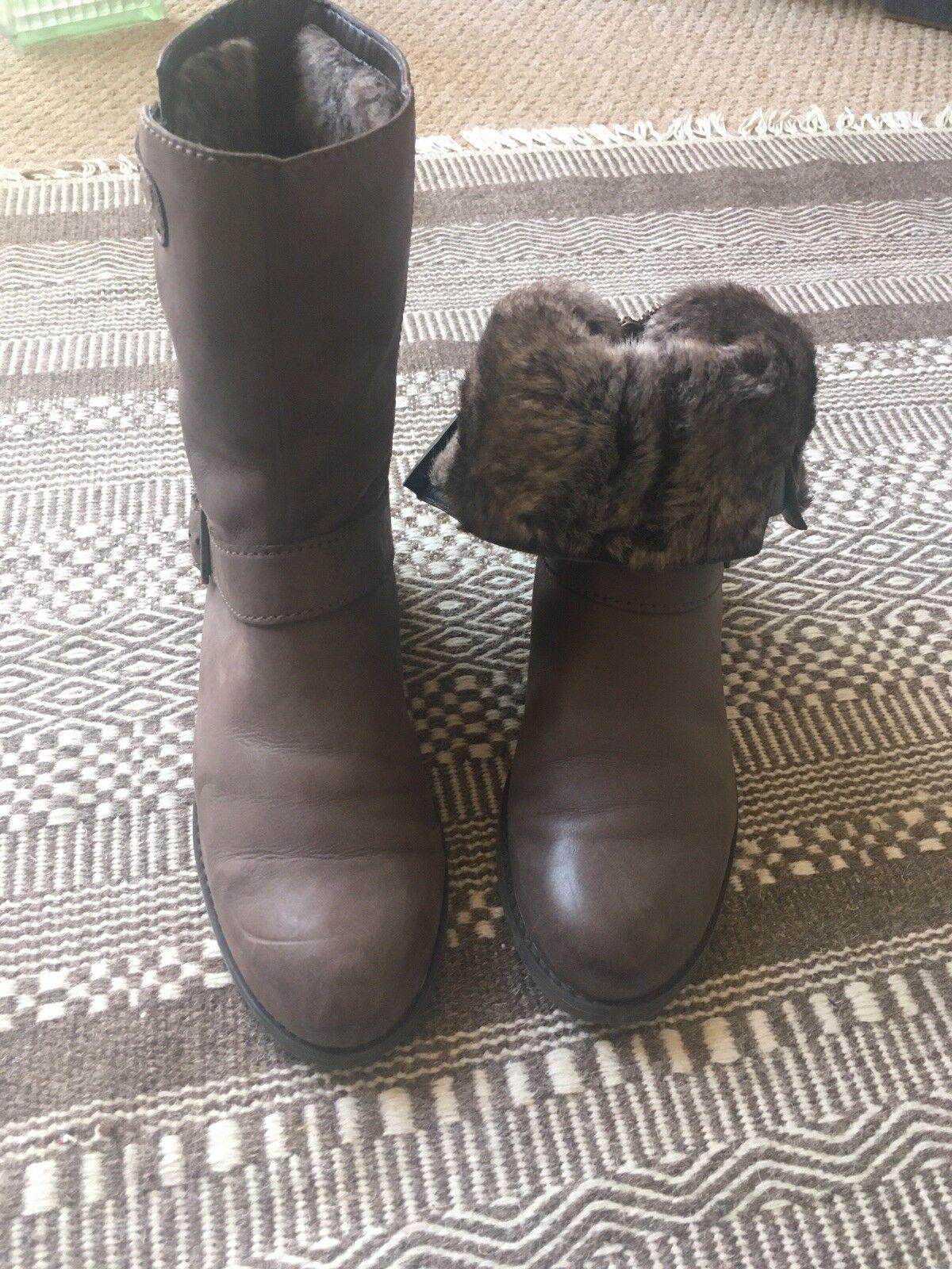 Clarks Marrón Piel Forrada Forrada Forrada botas 6.5  nuevo sádico