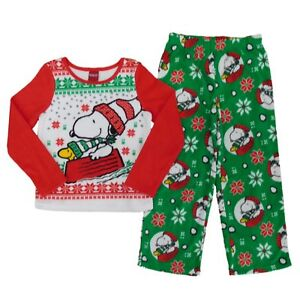 image is loading peanuts boys 2 piece snoopy christmas fleece sleepwear - Snoopy Christmas Pajamas