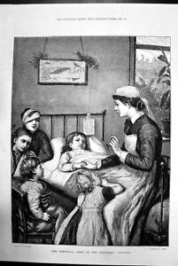 Antique-Old-Print-The-Christmas-Story-In-The-Childrens-Hospital-Nurse-1881-19th