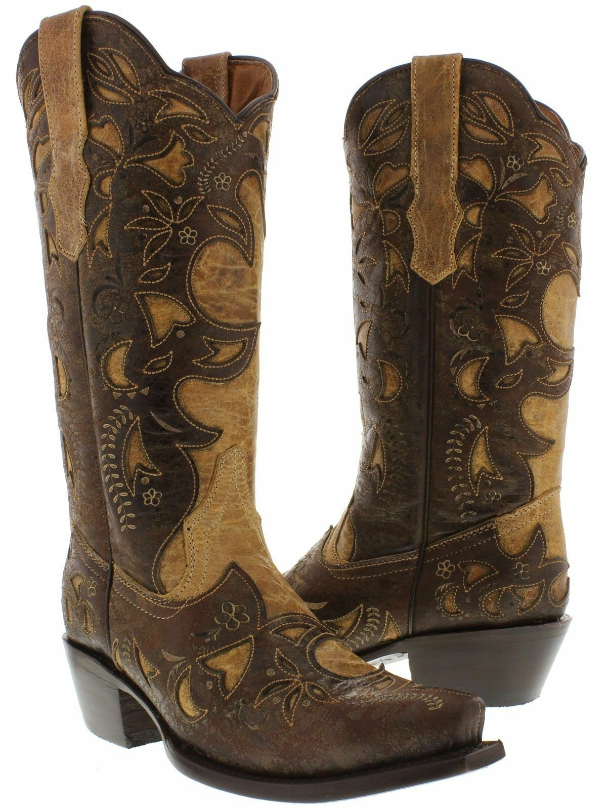 femmes Sand marron Overlay Distressed Real Leather Western Cowgirl bottes Snip