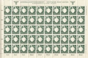 SALE-Stamp-Germany-Poland-General-Gov-039-t-Mi-105-Sheet-1943-WWII-War-Era-MNH