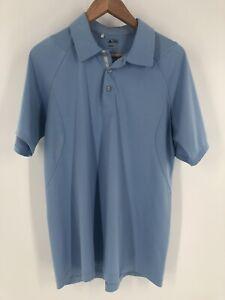 Men-s-Blue-Adidas-Golf-Climacool-3-Stripe-Short-Sleeve-Polo-Shirt-Size-Medium