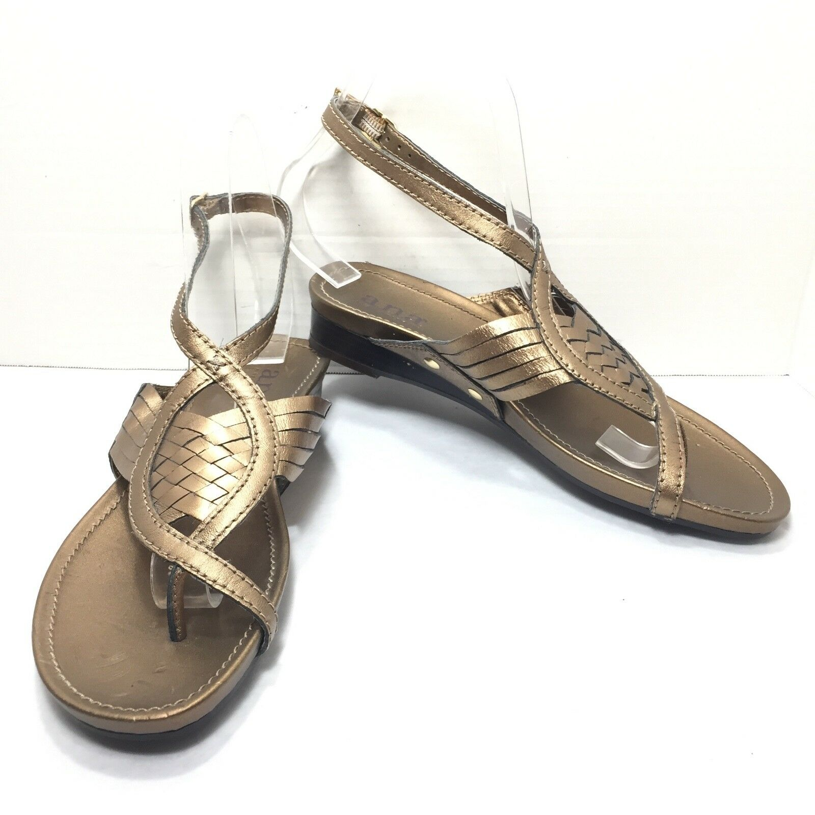 Women's Ana Leather Bronze Slides Gold Ankle Strap Thong Slides Bronze Sandals Size 7 M d2f474