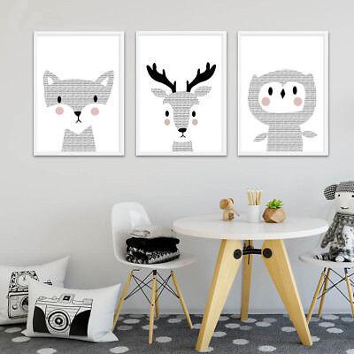 Woodland Animal Deer Owl Canvas Poster Wall Art Print Children Living Room Decor