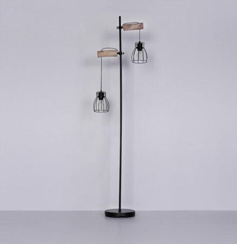 LED Vintage Steh Lampe Filament Käfig Stand Leuchte höhenverstellbar Holz Retro