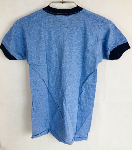 Vintage 1960's Mayo Spruce Polaris Blue T-shirt Dark Blue Trim Rare New