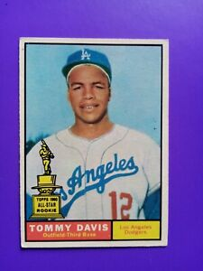 1961 Topps Tommy Davis #168 Baseball Card Ex No Creases Los Angeles Dodgers