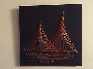 Details About Copper Wire Original Art 3d String Wall Decor Sailboat Ship 12x12 Original