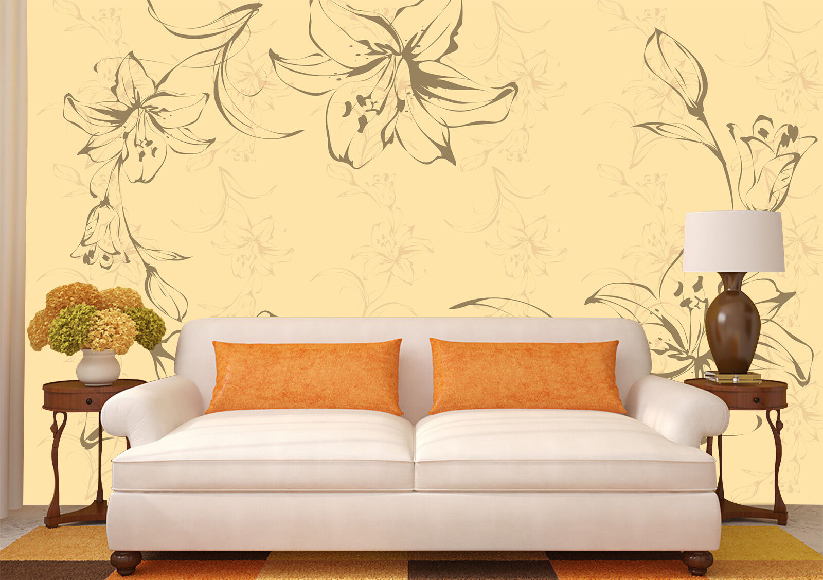 3D flower Texture cloth Retro Wall Paper Print Decal Wall Deco Indoor wall Mural