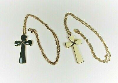 Vintage Lucite Green Cross Pendant Necklace1970s Avon Signed