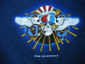 GRATEFUL-DEAD-RICK-GRIFFIN-1982-STEAL-YOUR-FACE-CONCERT-BLUE-T-SHIRT-KIDS-L-RARE