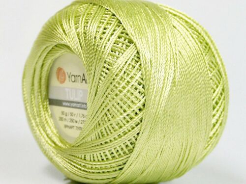 Willow Green YarnArt Tulip Size 10 Microfiber Thread #52264 50gr Crochet XStitch