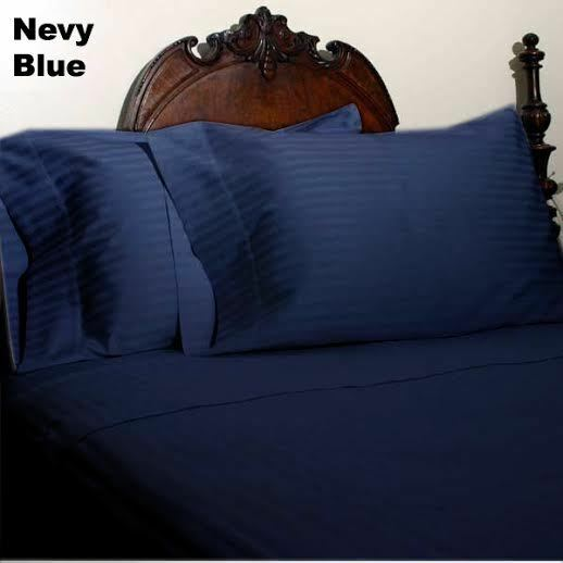 Navy bluee Stripe Queen Size Sheet Set 1000 Thread Count 100% Egyptian Cotton
