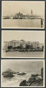 San Francisco CA: Lot of Three Better c.1920 RPPC Real Photo Postcards