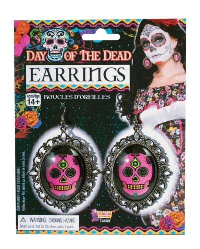 Day of the Dead Earrings Halloween Fancy Dress Party Costume Accessory