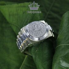 1.3CT Round Cut 10K Two Tone Gold White Diamond Cluster Designer Mens Rolex Ring