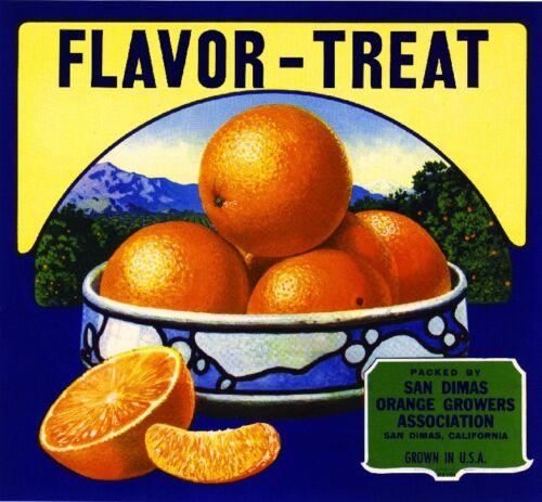 San Dimas Los Angeles County Flavor-Treat Orange Citrus Fruit Crate Label Print