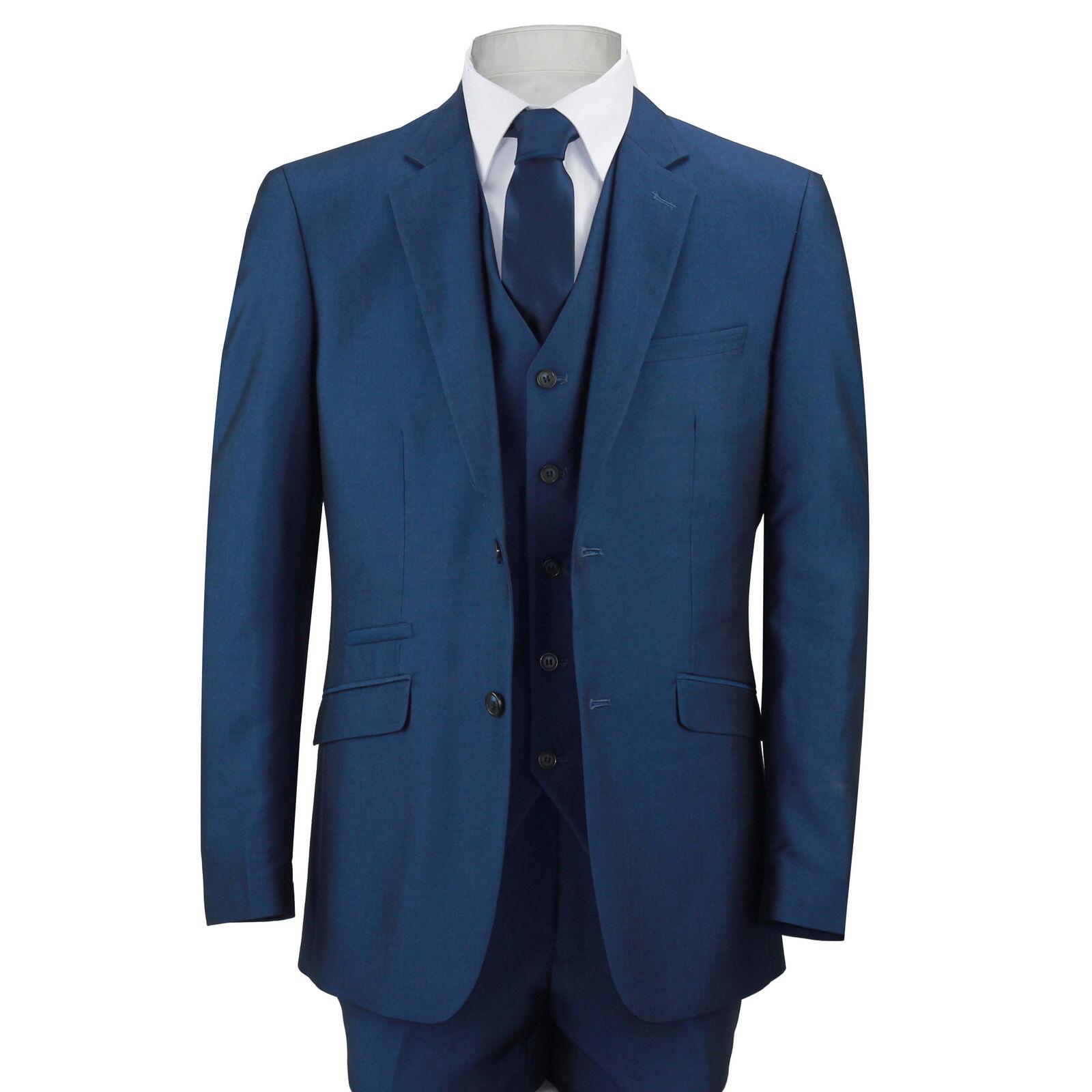 Herren Royal Blau 3 Piece Suit Work Wedding Prom Party Blazer Waistcoat Trousers